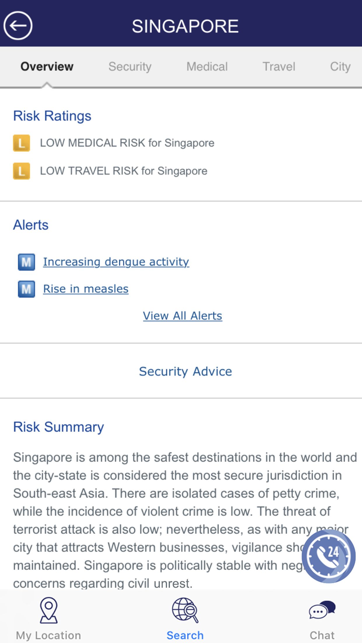 Singapore Risk Overview