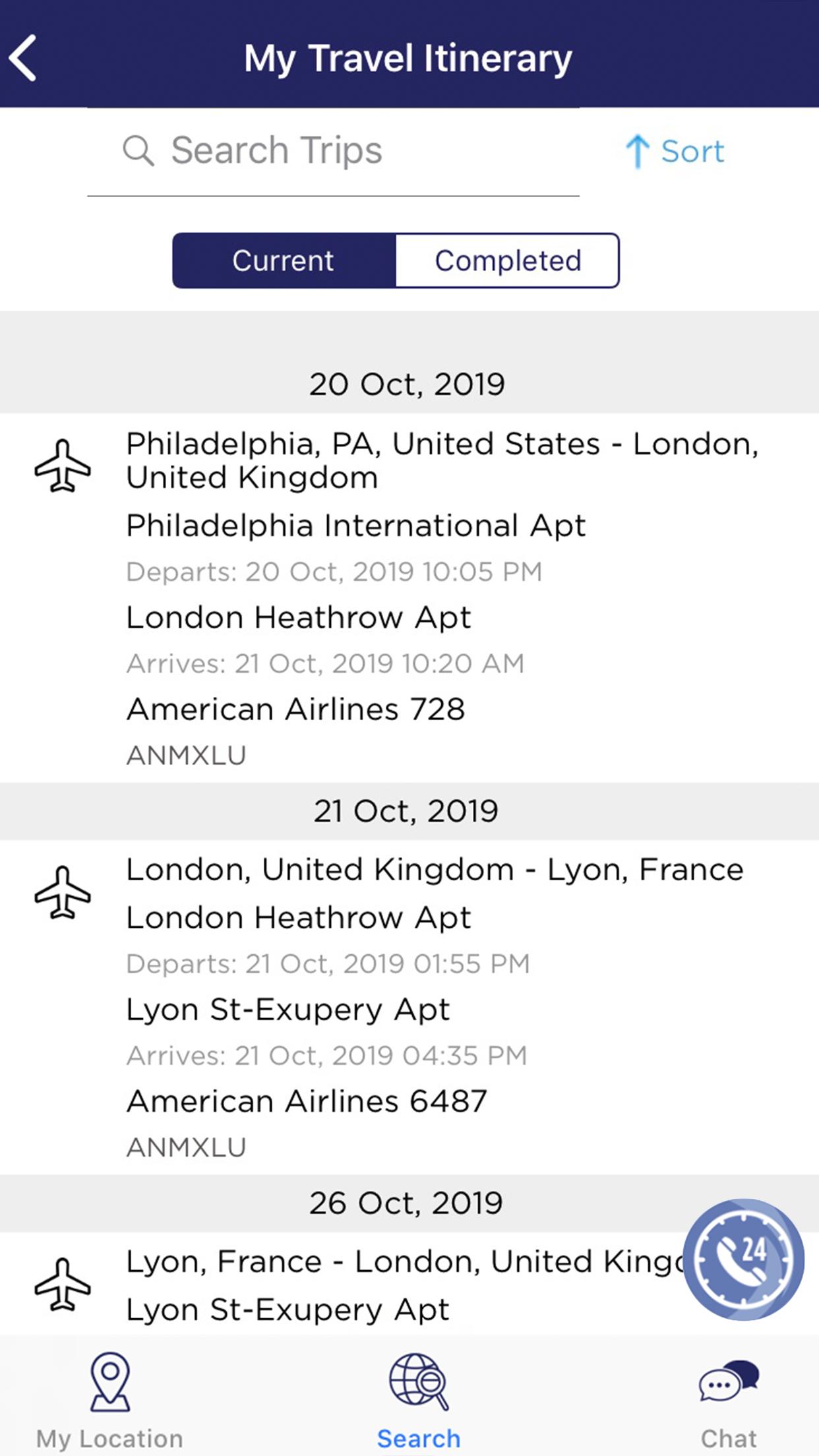 TravelTracker My Itinerary