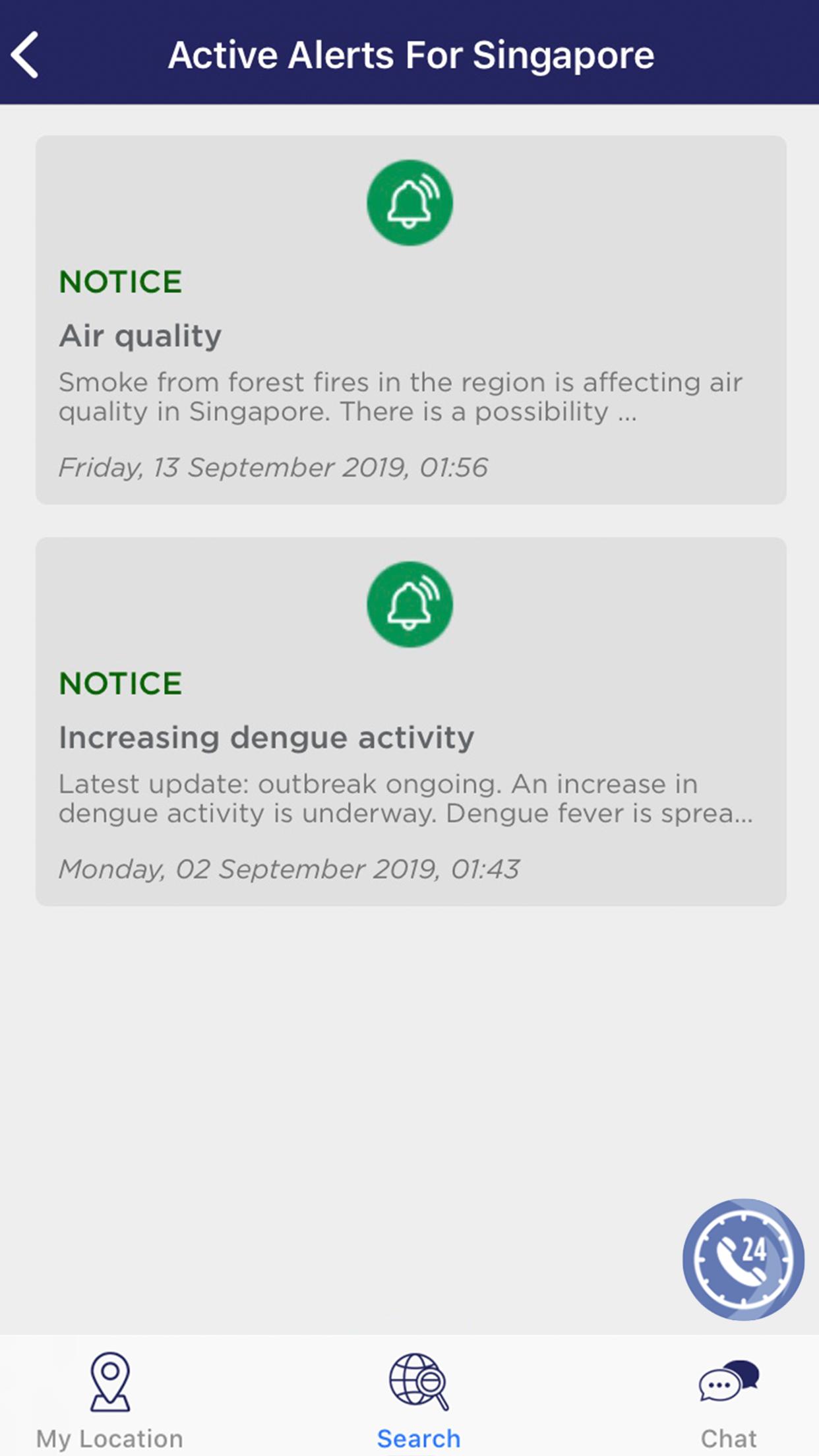 Singapore Active Alerts